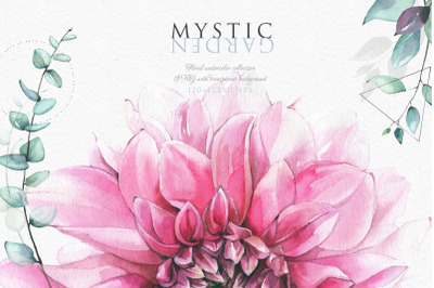 Mystic Garden. Watercolor floral collection