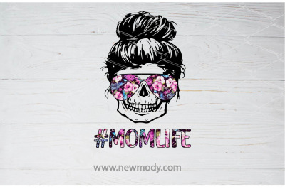 Mom Life Skull flower sunglasses Sublimation PNG Design