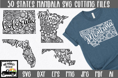 50 States Mandala SVG Bundle - State SVG Cut File