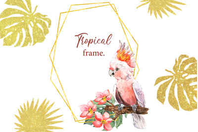 Watercolor tropical frame with a parrot and flowers. Golden frame