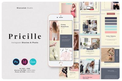 PRICILLE Instagram Pack | Canva, PSD, INDD