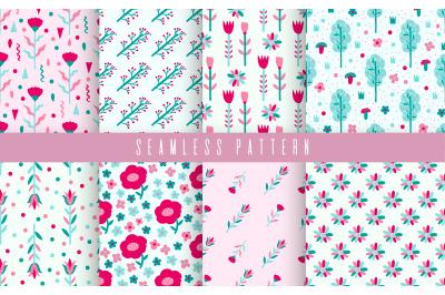 Pattern set flower pastel color
