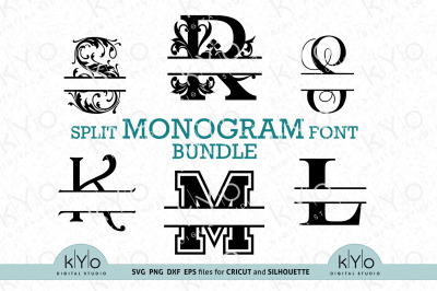 Split Monogram Letter bundle svg png dxf files