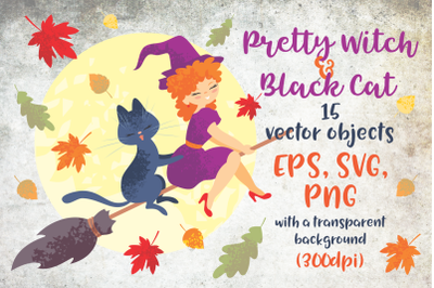 Pretty  witch and black cat. Halloween clip art