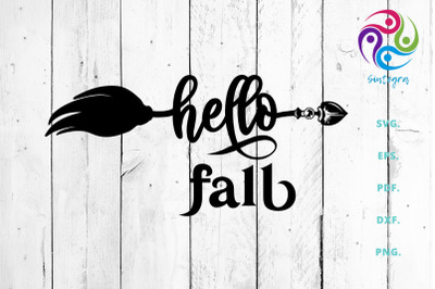 Hello Fall Saying Svg Cut File With Broom
