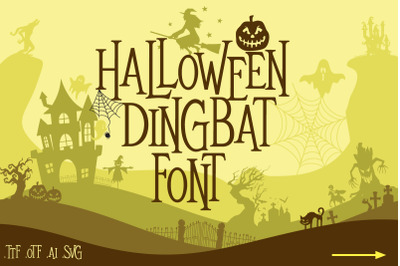 Mitoos Halloween Dingbat Font with svg file