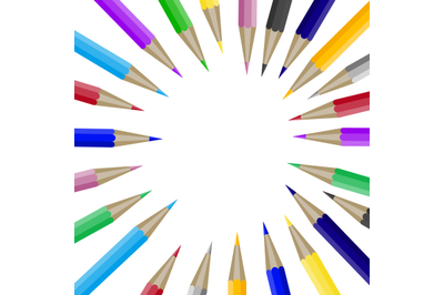 Color pencils in round shape with copyspace for text