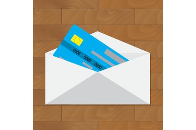 Open credit card. Get card in envelope