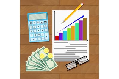 Wage increase overhead view. Salary statistics chart