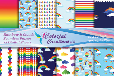 Rainbow and Clouds Digital Papers, Rainbow and Clouds Seamless papers,