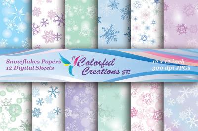 Christmas Digital Papers, Snowflakes Digital Papers, Christmas Snowfla