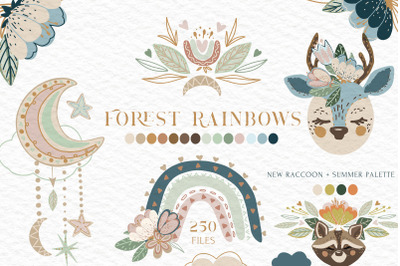 Forest Rainbows Baby Animal Vector Collection