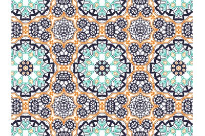 Pattern Abstract Navy Orange Blue Color