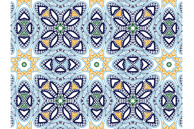 Pattern Abstract Navy Blue Orange Green Color