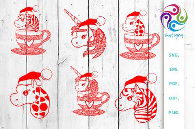 Mandala Christmas Animals Bundle Svg Cut File