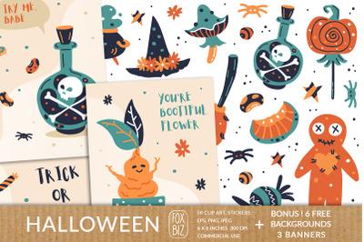 Happy Halloween. Digital prints, stickers. Hand drawn vector