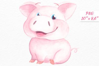 Watercolor Pig clipart Baby pig graphics Piglet Piggy digital cli