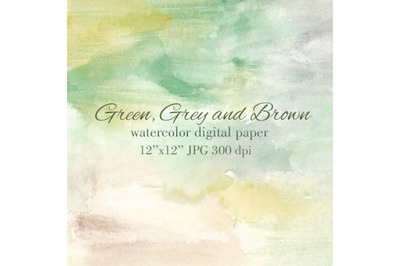 Green Grey Brown watercolor textured background