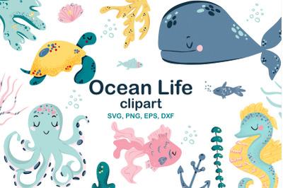 Ocean Life Clipart SVG, PNG