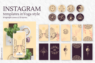 Collection of Instagram templates in modern yoga art style