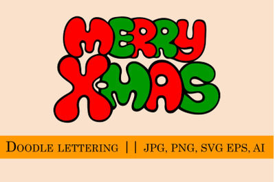 Merry X-mas Lettering in doodle style