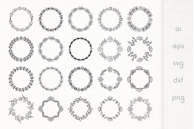 Hand Drawn Floral Frames Pack of 20