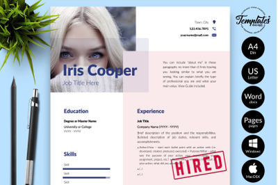 Modern Resume Template for Microsoft Word & Apple Pages Iris Cooper