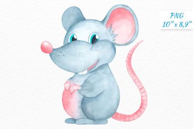 Grey Watercolor Rat clipart