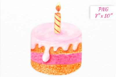 Watercolor birthday cake with candle clipart