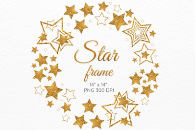 Golden stars frame Christmas wreath clipart
