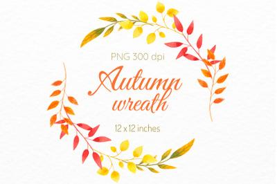 Leaf frame Autumn clipart Fall wreath decor