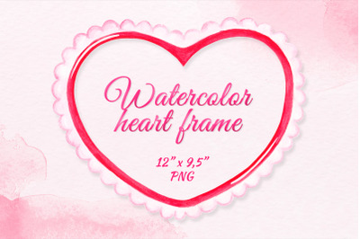 Heart frame clipart Valentines day watercolor frame