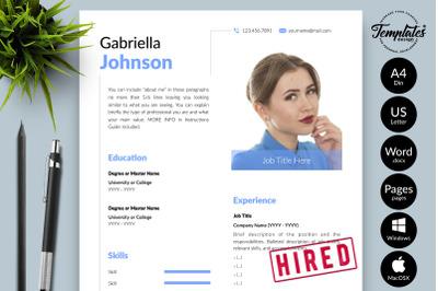 Creative CV Sample for Microsoft Word & Apple Pages Gabriella Johnson
