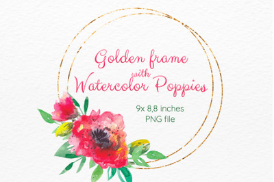 Golden frame with Watercolor poppy flowers