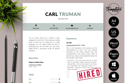 Modern Resume CV Template for Microsoft Word & Apple Pages Carl Truman