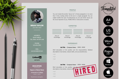 Modern Resume Template for Microsoft Word & Apple Pages Brian Taylor