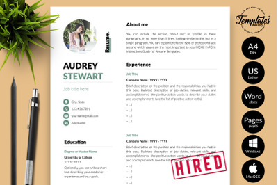 Modern Resume Template for Microsoft Word & Apple Pages Audrey Stewart