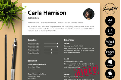 Modern Resume Template for Microsoft Word & Apple Pages Carla Harrison