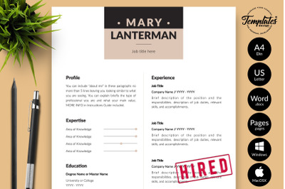 Modern Resume Template for Microsoft Word & Apple Pages Mary Lanterman