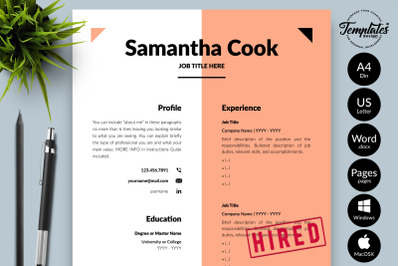 Modern Resume Template for Microsoft Word & Apple Pages Samantha Cook