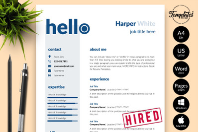 Creative Resume Template for Microsoft Word & Apple Pages Harper White