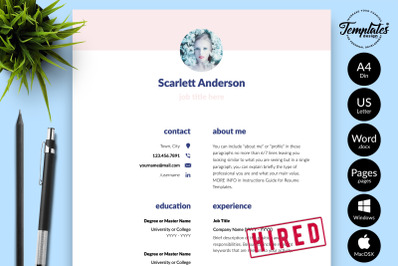 Creative CV Sample for Microsoft Word & Apple Pages Scarlett Anderson