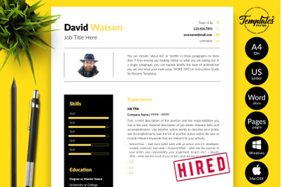 Creative Resume Template for Microsoft Word & Apple Pages David Watson