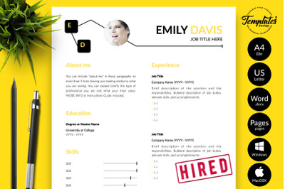 Creative Resume Template for Microsoft Word & Apple Pages Emily  Davis