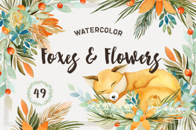Watercolor Foxes & Flowers