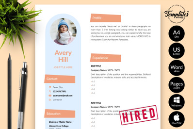 Creative Resume Template for Microsoft Word & Apple Pages Avery Hill
