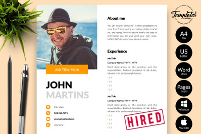 Modern Resume Template for Microsoft Word & Apple Pages John Martins