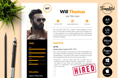 Creative Resume Template for Microsoft Word & Apple Pages Will Thomas