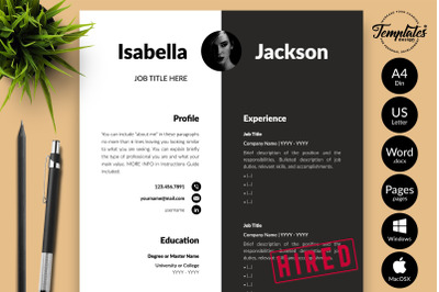 Modern Resume Sample for Microsoft Word & Apple Pages Isabella Jackson