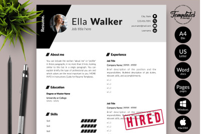 Creative Resume Template for Microsoft Word & Apple Pages Ella Walker